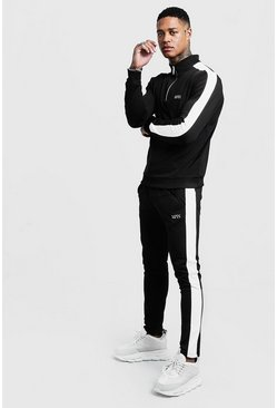 Black Funnel Neck Contrast Panel MAN Tracksuit