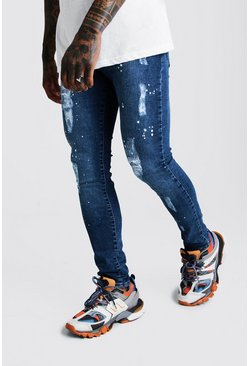 Mid blue blue Super Skinny Distressed Paint Splatter Jean