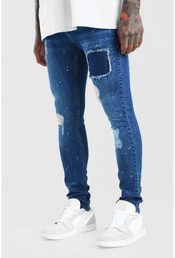 Blue Super Skinny Distressed Jeans With Paint Splatter