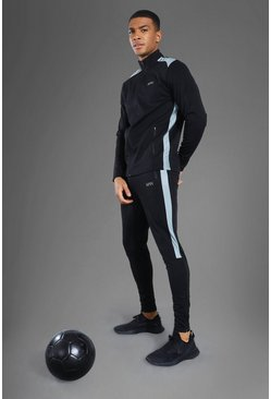 Black Man Active Mesh Panel Zip Through Tracksuit
