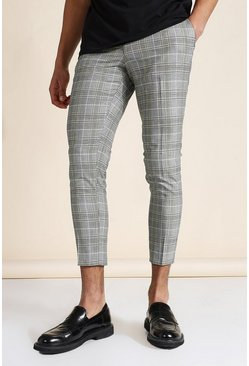 Super Skinny Grey Check Crop Pants