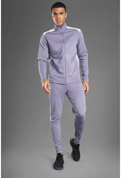 Grey Man Active Mesh Panel Zip Through Tracksuit