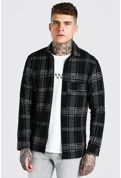 Black Check Jacquard Utility Coach Overshirt