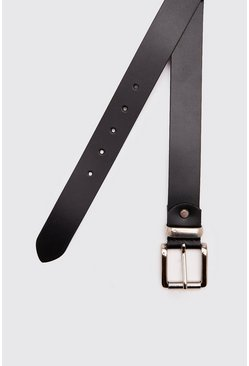 Black Real Leather Smooth Belt With Roller Buckle