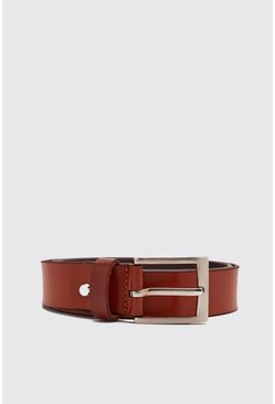 Tan brown Real Leather Smooth Belt With Roller Buckle
