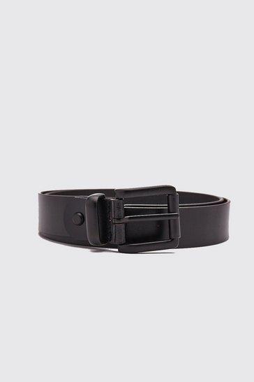 Real Leather Black Buckle Belt