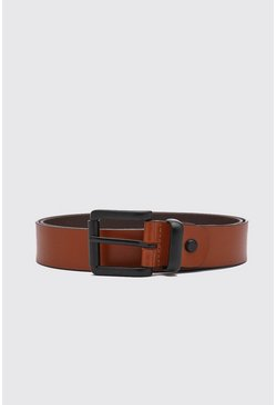 Tan brown Real Leather Black Buckle Belt