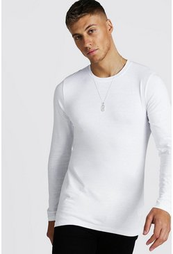 White vit Långärmad t-shirt i muscle fit