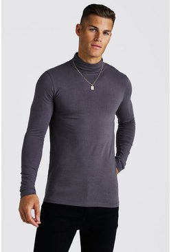 Charcoal grey Muscle Fit Long Sleeve Roll Neck T-Shirt