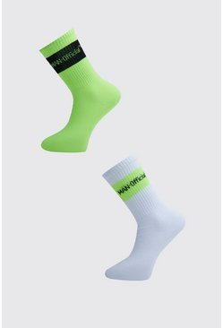 Green MAN Official 2 Pack Neon Stripe Socks