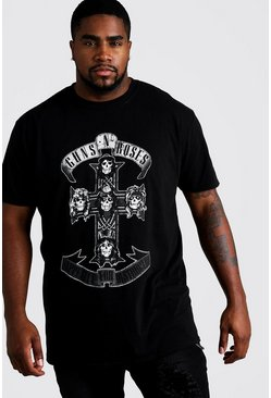 Black Plus Size Guns 'n' Roses Cross License T-Shirt