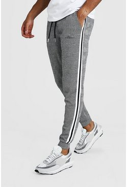 Grey MAN Signature Jacquard Cuffed Jogger With Tape