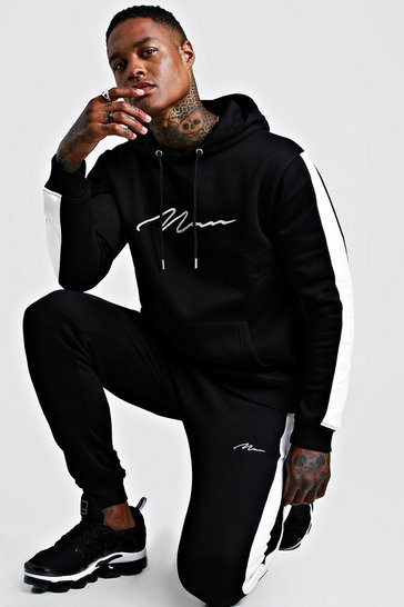 Black Contrast Panel Tracksuit With White Man Embroidery