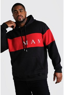 Black Plus Size MAN Contrast Panel Hoodie