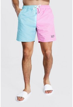 Light blue blue Mid Length Colourblock Splice Swim Short