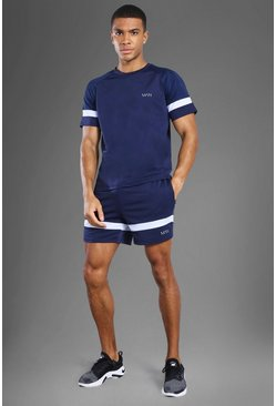 Navy Man Active Patterned Panel Zip Pocket Short Set