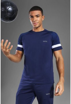Man Active Patterned Panel T Shirt, Navy blu oltremare