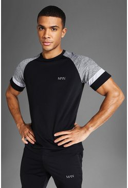 Man Active Patterned Panel T Shirt, Black nero