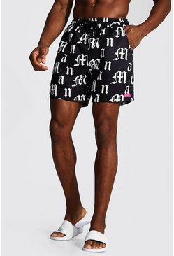 Mid Length Gothic Man Print Swim Short, Black nero