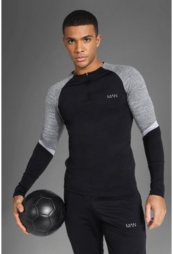 Man Active Patterned Panel Crew Zip Top, Black nero