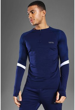 Man Active Patterned Panel Crew Zip Top, Navy blu oltremare