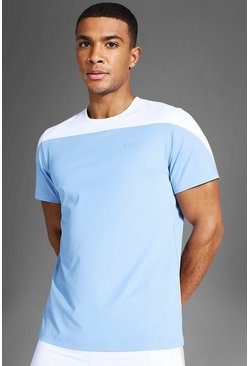 Man Active Colour Block T Shirt, Dusty blue azzurro