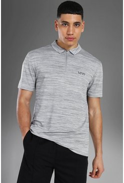 Grey Man Active Polo Met Textuur