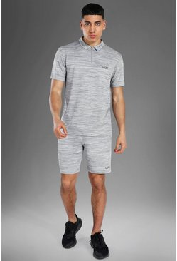 Man Active Textured Polo Top Short Set, Grey gris