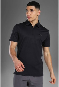 Man Active Polo Top, Black nero
