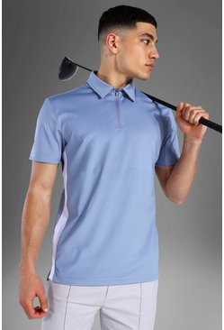 Man Active Polo Top, Dusty blue azzurro