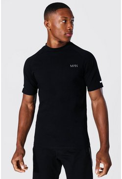 Man Active Mock Neck T Shirt , Black nero
