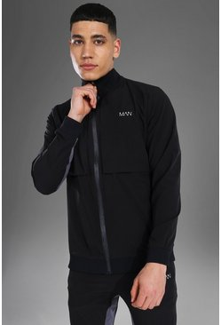 Black svart Man Active Woven Zip Through Track Jacket
