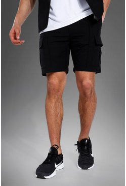 Black svart MAN Active Shorts i nylon med cargofickor