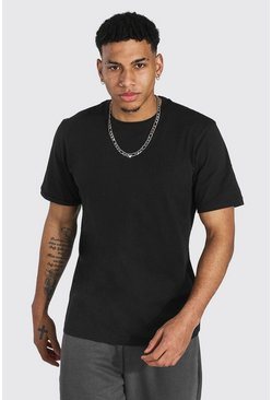 Black Crew Neck T-shirt With Ribbed Cuff