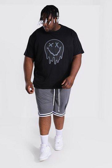 Black Plus Size Loose Fit Drip Face Tee & Short Set