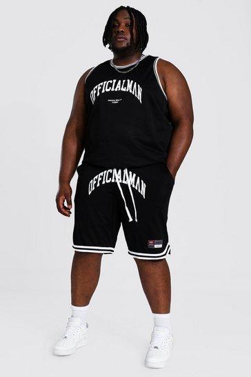 Black Plus Man Official Print Mesh Basketball Set