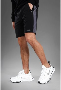 Black svart MAN Active Shorts med kontrastpaneler