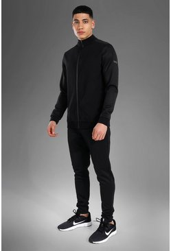 Man Active Ribbed Funnel Neck Tracksuit , Black noir