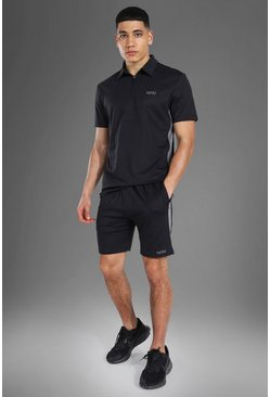 Man Active Polo Top Short Set, Black noir