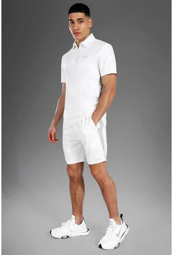 Man Active Polo Top Short Set, White blanc