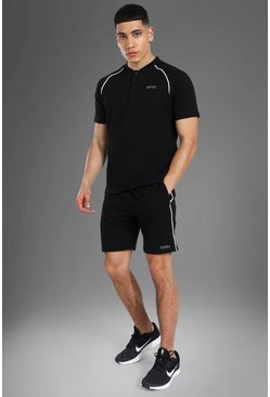 Man Active Crew Neck Polo Top Short Set, Black noir