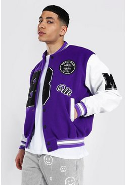 Purple B Varsity Bomber With Leather Look Sleeves