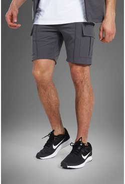 Grey grå MAN Active Shorts i nylon med cargofickor