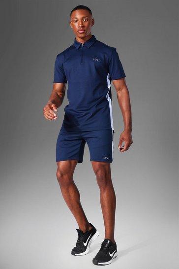 Navy Man Active Polo Top Short Set