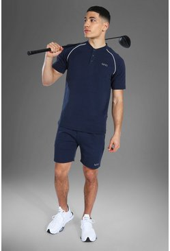Man Active Crew Neck Polo Top Short Set, Navy marine