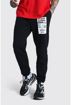 Black Official Man Regular Fit Barcode Joggingbroek