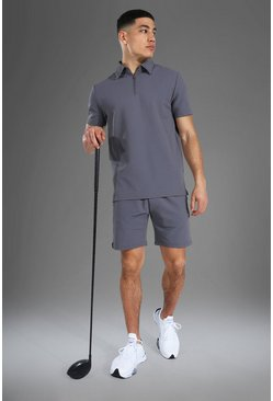 Man Active Ribbed Polo Top Short Set, Grey gris
