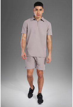 Man Active Ribbed Polo Top Short Set, Beige