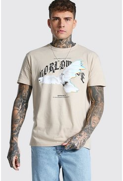 Sand beige Loose Worldwide Dove Print T-shirt