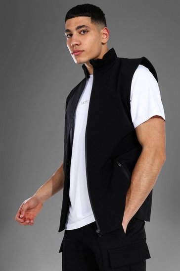 Black Man Active Nylon Fitted Gilet